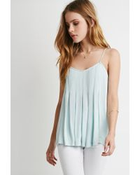Forever 21 | Green Pleated Trapeze Cami | Lyst
