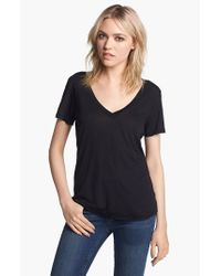 Splendid | Black Jersey V-neck Tee | Lyst