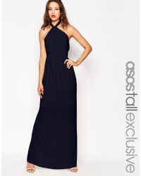 ASOS | Blue Tall Wedding Plunge Wrap Maxi Dress With Tie Waist | Lyst