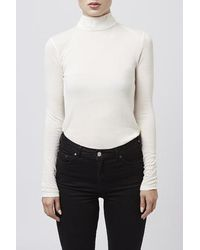 TOPSHOP - Natural Jersey Roll Neck Top By Boutique - Lyst