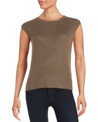 Calvin Klein | Gray Ribbed Shell Blouse | Lyst