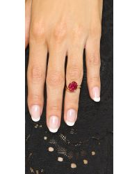 Bijules | Red Phalange Oval Midi Ring - Ruby/gold | Lyst