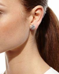 Borgioni - Metallic Pave Diamond Rose Stud Earrings - Lyst
