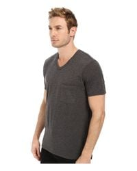 7 For All Mankind - Gray Short Sleeve Raw V-Neck - Lyst