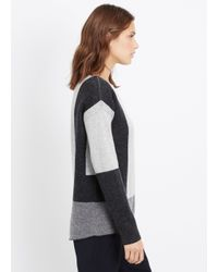 Vince - Black Wool Cashmere Intarsia Colorblock Sweater - Lyst