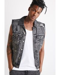 Forever 21 | Black Distressed Paint-flecked Denim Vest for Men | Lyst