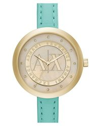 Armani Exchange | Green Crystal Index Logo Dial Watch | Lyst