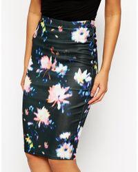 AX Paris | Black Pencil Skirt In Brush Sroke Floral | Lyst