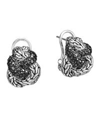 John Hardy | Metallic Classic Chain Silver Lava Braided Buddha Belly Earrings With Black Sapphire | Lyst