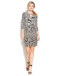 Calvin Klein - Multicolor Leopard-Print Keyhole Faux-Wrap Dress - Lyst
