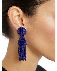 Oscar de la Renta | Purple Two-tiered Beaded Tassel Clip-on Earrings | Lyst