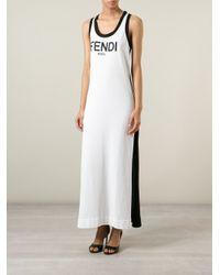 Fendi - Black Long Logo Tank Dress - Lyst