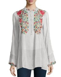 Johnny Was - White Eleanor Embroidered Tunic - Lyst