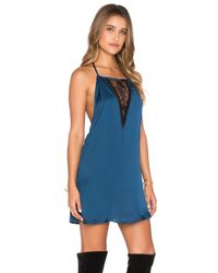 Band Of Gypsies - Blue Lace Insert Mini Dress - Lyst