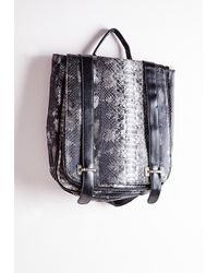 Missguided | Multicolor Snake Contrast Buckle Backpack Grey | Lyst