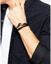 Seven London - Black Wraparound Plaited Bracelet for Men - Lyst