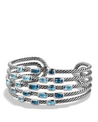 David Yurman | Confetti Wide Cuff Bracelet With Blue Topaz And Hampton Blue Topaz | Lyst