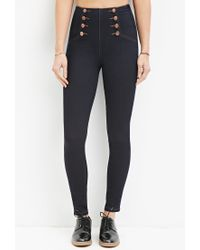 Forever 21 | Blue High-waisted Skinny Sailor Jeans | Lyst