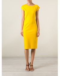 Jil Sander - Yellow Short Sleeve Fitted Dress - Lyst