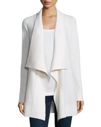 Neiman Marcus | White Mixed-stitch Draped Cashmere Cardigan | Lyst