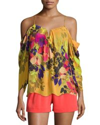 Nicole Miller - Multicolor Schuler Floral-print Cold-shoulder Top - Lyst