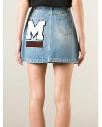 MSGM - Blue Textured Logo Denim Skirt - Lyst