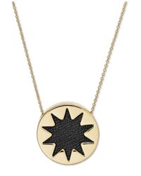 House of Harlow 1960 | Metallic Gold-tone Black Leather Round Sunburst Pendant Necklace | Lyst