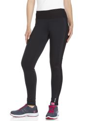Reebok | Black Athena Mesh Panel Performance Leggings | Lyst