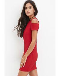Forever 21 | Red Open-shoulder Ribbed Dress | Lyst