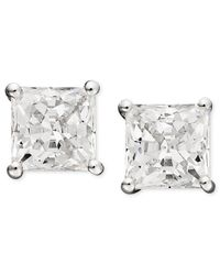 Arabella | Metallic Swarovski Zirconia Princess Cut Stud Earrings (2-3/4 Ct. T.w.) | Lyst