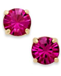 kate spade new york - 12K Gold-Plated Pink Crystal Round Stud Earrings - Lyst