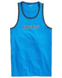 DKNY - Blue Logo Graphic Tank for Men - Lyst