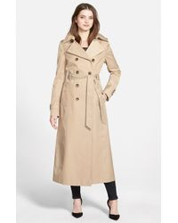 DKNY - Natural Hooded Double Breasted Maxi Trench Coat - Lyst