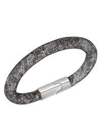 Swarovski - Stardust Crystal And Black Fishnet Bracelet - Lyst