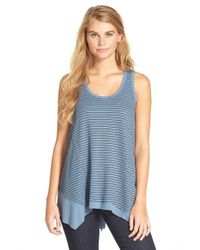 Chloe K | Blue Stripe Handkerchief Hem Tank | Lyst