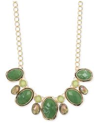 Jones New York | Gold-tone Faceted Green Bead Frontal Necklace | Lyst