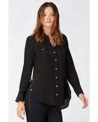 True Religion | Black Relaxed Silk Georgia Womens Shirt | Lyst
