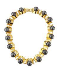 Lele Sadoughi | Metallic Hematite Groove Necklace | Lyst