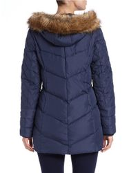 Kensie - Blue Faux Fur-trimmed Quilted Coat - Lyst
