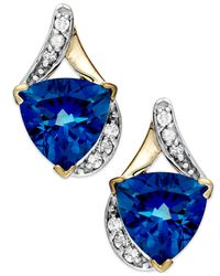 Macy's | Blue Tanzanite (1-5/8 Ct. T.w.) And Diamond (1/8 Ct. T.w.) Square Stud Earrings In 14k White Gold | Lyst