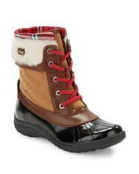 Anne Klein | Brown Grania Faux Fur-trimmed Snow Boots | Lyst