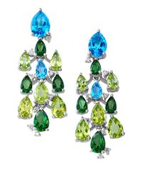 Effy | Green Mosaic Semi-precious, Multi-stone 14k White Gold Chandelier Earrings | Lyst