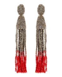 Oscar de la Renta | Red Long Beaded Tassel Clipon Earrings | Lyst