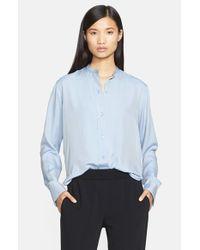 Helmut Lang - Blue Matte Silk Twill Shrunken Shirt - Lyst