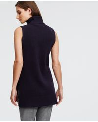 Ann Taylor | Blue Sleeveless Turtleneck Tunic | Lyst