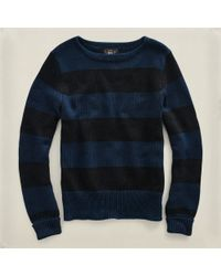 RRL | Blue Striped Crewneck Sweater for Men | Lyst