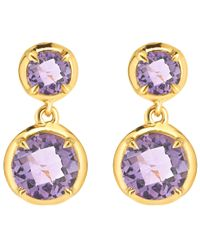 Dinny Hall | Purple Gold Vermeil Amethyst Sheba Double Drop Earrings | Lyst