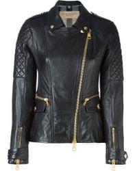 Burberry Brit - Black Quilted-Sleeve Biker Jacket - Lyst