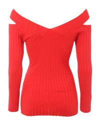 Jane Norman - Red Cold Shoulder Rib Jumper - Lyst