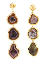 Kimberly Mcdonald | Purple 18kt Gold, Diamond And Geode Earrings | Lyst